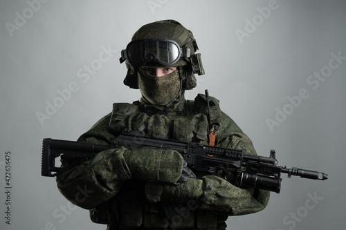 Fotografie, Obraz Male in russian infantry protect uniform