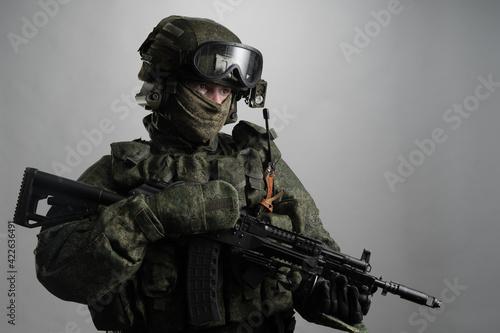Obraz na plátně Male in russian infantry protect uniform