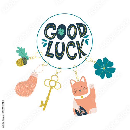 Tablou Canvas Good luck wish phrase with protection, luck and fortune charms or talismans as keychains