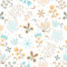 Seamless Pattern Set Of Flowers, Butterflies, Petals, Bed Tones