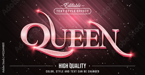 Fototapeta Editable text style effect - Queen with Rose Pink text style theme. Graphic Design Element. obraz