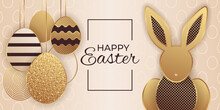 Greeting Card For Easter Celebrating With Shining Golden Eggs And Rabbit On A Beige Background.