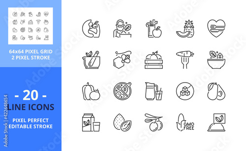Stampa su Tela Line icons about healthy food