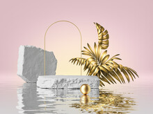 3d Render, Pink Background, Tropical Scene With Cobblestone Podium Golden Palm Leaves And Arch, Reflection In The Water. Empty Stage. Blank Showcase For Product Presentation