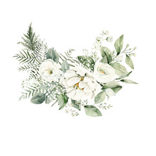 Watercolor Floral Composition. Hand Painted White Flowers, Forest Leaves Of Fern, Eucalyptus, Gypsophila. Green Bouquet Isolated On White Background. Botanical Illustration For Design, Print