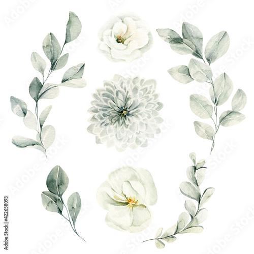 Photo Watercolor floral set