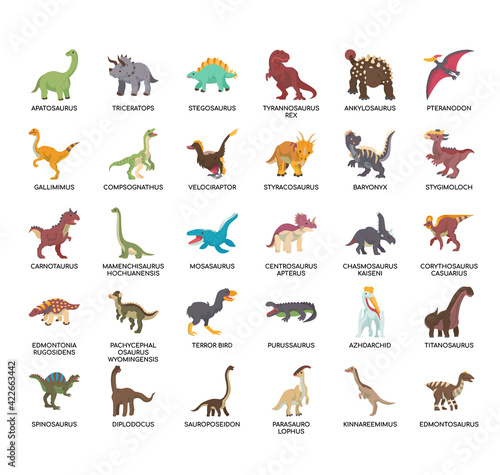 Платно Set of dinosaur thin line and pixel perfect icons for any web and app project
