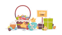 Cute Chicks With Decorated Eggs Basket And Gifts Happy Easter Spring Holiday Composition