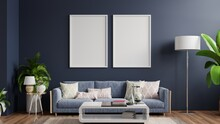 Interior Poster Mockup With Vertical Empty Wooden Frame Standing On Wooden Floor With Sofa On Dark Background.