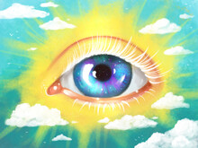 Bright Drawing Poster Plat With A Third Eye, Shining In The Sky Like The Sun, Surrounded By Clouds. Symbol Of Spiritual Awakening, Yoga, Zen, Meditation.