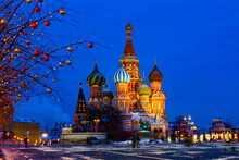 St. Basil's Cathedral On Red Square In Moscow At Night In Winter Time, Russia