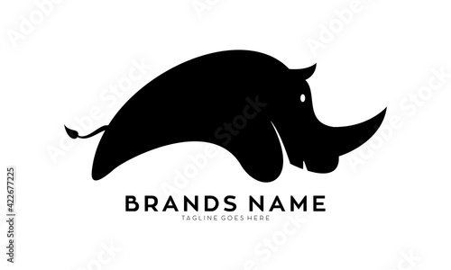 Fotografie, Obraz Cute rhino luxury vector logo