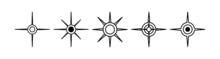 Black North Sign Vector Set. Compass Direction Symbol.