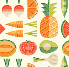 Seamless Mid Century Pattern Of Fruits And Vegetables. For Backgrounds, Print Design, Home Decor. Healthy Food Theme. Vector Illustration.
