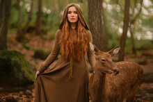 Redhead Girl With Deer In A Long Dress