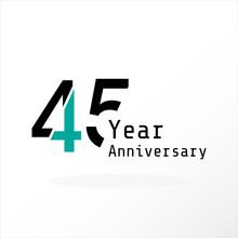 45 Years Anniversary Celebration Blue Color Vector Template Design Illustration