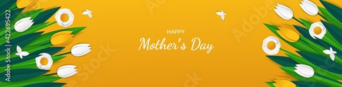 Fototapeta Happy mother s day - greeting card with colorful tulips obraz