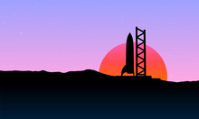 Space Rocket Ready To Start On Launching Site. Spaceship Silhouette Takeoff Countdown On The Sunset Illustration