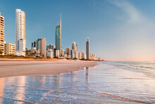 Early Morning, Surfers Paradise Beach. This Popular Beach Is On The Gold Coast, Queensland, Australia And Is Popular With Tourists And Locals Alike.
