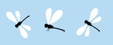 Dragonfly Cartoons On Blue Background Vector Illustration.