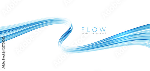 Photo Vector blue color abstract wave design element