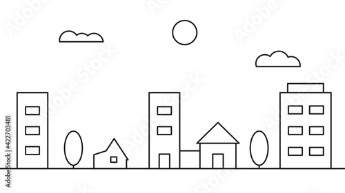 Canvas-taulu City landscape in a linear style