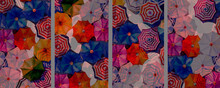 Multi Colored Umbrella Watercolor Painting Top View Colorful Of Summer.