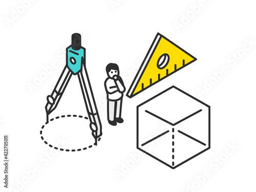 Fototapeta 算数の授業のイメージイラスト素材 obraz