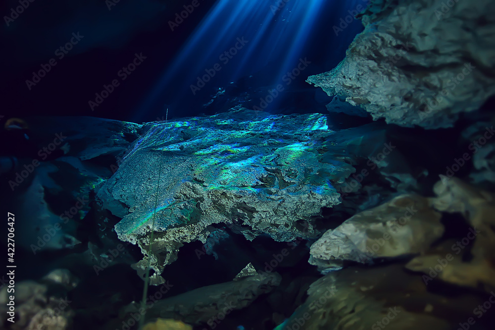 Fototapeta underwater landscape mexico, cenotes diving rays of light under water, cave diving background