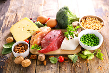 Protein Food Sources On Wood Background