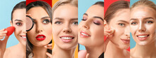 Collage Of Beautiful Young Women With Natural Makeup On Color Background