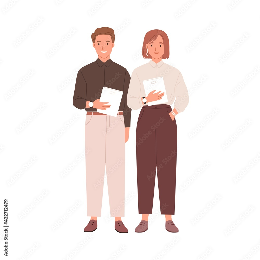 Fototapeta Couple of colleagues standing together with tablets. Portrait of young businessman and businesswoman. Two modern smiling coworkers isolated on white background. Flat vector illustration