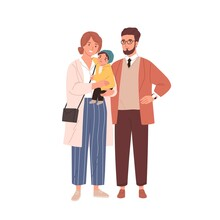 Family Portrait Of Happy Mother, Father And Baby. Parents Standing Together And Holding Child. Smiling Mom, Dad And Kid. Colored Flat Vector Illustration Isolated On White Background