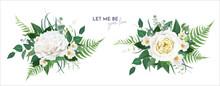 Vector Floral Greenery Bouquet. Lush Green Tropical Eucalyptus Leaves, Fern, White Light Yellow Rose Flowers, Camellia, Herbs Editable Watercolor Art Illustration. Elegant Wedding Designer Element Set