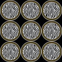 Seamless Black White Zebra Pattern With Golden Chain On Black Background. EPS10 Illustration.