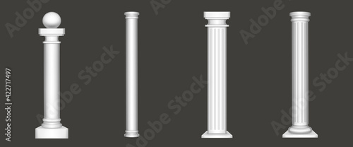 Fotografie, Obraz Ancient white marble greek pillars