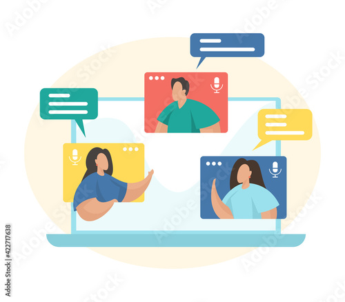 Video conferencing concept flat vector illustration. Team working by group video call. Remote working. Online meetup. Social networking