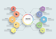 Vector Infographic Template With 3D Paper Label, Integrated Circles. Business Concept With 10 Options. For Content, Diagram, Flowchart, Steps, Parts, Timeline Infographics, Workflow, Chart.