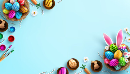 Easter poster background template with Easter eggs in the nest and Rabbit ears on bule background.Greetings and presents for Easter Day in flat lay styling.Promotion and shopping template for Easter
