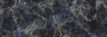 Marble Stone Texture Background.Dark Blue Gray Marble  With White Veins.