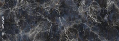 Fototapeta Marble stone texture background.Dark blue gray marble  with white veins. obraz