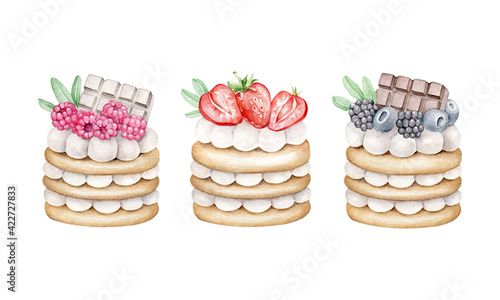 Fototapeta Watercolor cakes with cream and berries obraz