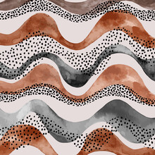 Abstract Wavy Stripes With Doodle, Polka Dot, Watercolor Texture In Earth Tone Colors