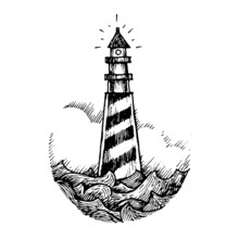 Etched Vector Illustration. Contemporary Street Art Work. Hand Drawn Ink Sketch Of Lonely Lighthouse In Middle Of Storm And Sea Waves In Ocean. Tower In Water On A Rock For Ship Navigation In Dark.