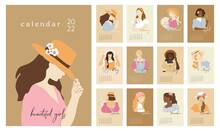 Wall Vertical Calendar For 2022, The Week Starts On Sunday. Template A4 Format Calendar Set Of Month With Abstract Beautiful Girls In Vintage. Contemporary Portraits Posters. Vector Illustration.
