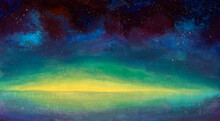Hand Painted Acrylic Painting Sunrise Sunset Over Sea Water, Beautiful Starry Sky Universe Space Modern Illustration Background