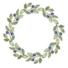 Watercolor Wreath With Blueberries Isolated On White Background. Berry Frame. Berries. Framing.