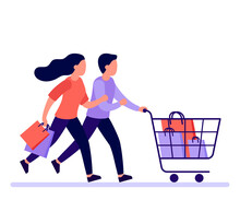 Couple Man And Woman Hurry Run With Shopping Cart To Sale In Shop, Buyers Rush. Family Buyer With Shopping Cart Rush To Sale And Discount Items. Vector Illustration
