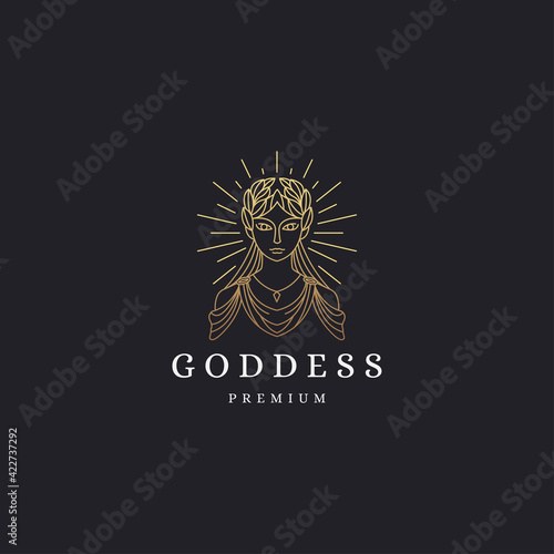 Canvas Print Luxurious greek goddess woman with line style logo icon design template