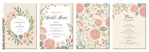 Fototapeta Universal hand drawn floral templates in warm colors perfect for an autumn or summer wedding and birthday invitations, menu and baby shower. obraz